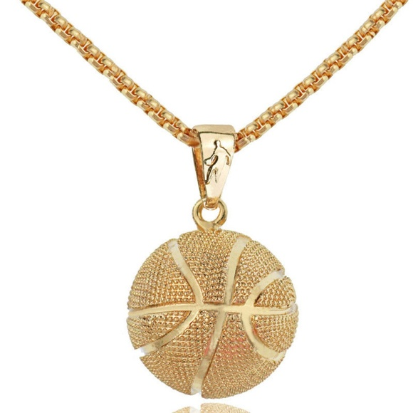 No Brand Other - 3D Basketball Gold Color Pendant Chain - New